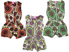 Girl's Geometric Boho Print Cotton Playsuit Short Summer Fashion 3-12 Years NEW