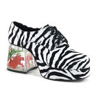 Men's Faux Zebra Fur Goldfish Heel Retro Disco Pimp Halloween Costume Shoes
