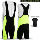Mens Cycling Bib Tights Shorts Coolmax Padded Bike Legging Hi-Viz Green All Size