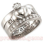 Sterling Silver CubicZirconia Claddagh, Eternity & Band Stacker Ring Set