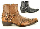 Mens Snake Skin Pattern Western Cowboy Ankle Boots with Zip UK Sz 6 7 8 9 10 11
