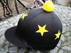Lycra Riding Hat Silk Skull cap Cover BLACK Yellow * STARS With OR w/o Pompom