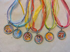 10 PET PALACE NECKLACES PARTY FAVORS. CINDERELLA, ARIEL, SNOW WHITE, MULAN TIANA