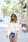 ZARA BLOGGERS NUDE BLAZER WITH DRAPED LAPELS AND PADDED SHOULDERS SIZE S,M,L
