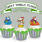 Trash Pack Trashies EDIBLE Wafer Cupcake Toppers 12 designs PRECUT cup cake