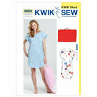 Kwik Sew 3552 Night Shirt Gown Nightie Travel Pillowcase Sewing Pattern K3552