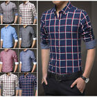 7 Color Z6246 New Mens Fashion Plaids Casual Slim Fit Stylish Dress Shirts