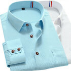 Z6249 New Men's   Fashion Polka Dot  Classic Collar Formal Casual Shirt