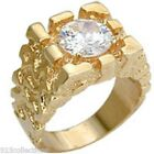 Solitaire Nugget 9 mm April Clear CZ Birthstone Gold Plated Men's Ring Size 8-15