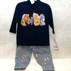 **PRICE REDUCED**NEW*NAVY LONG SLEEVE TOP&LEGGINGS SET *FOUR KITTENS*-SPUMONI 2T