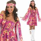 Ladies Hippy Dress PLUS Headband - Womens 60s Hippie Fancy Dress Costume Sixties