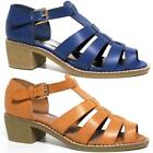 Ladies Summer Sandals Womens Block Heels Cut Out Gladiator Strappy Shoes Size