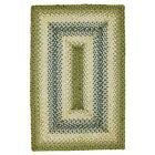 Jute Braided Area Floor Rug Rectangle Green Blue Cream Cottage Cabin Rustic