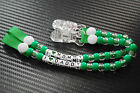 pacifier soother dummy clip holder string chain plastic or metal clip green