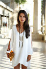 New Womens White Loose Round Neck Strapless A-line Casual Skirts Mini Dress usjb
