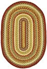 Jute Braided Area Floor Rug Oval Paprika Gold Cream Blue Cottage Cabin Rustic