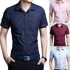 ZD88 New Fashion Mens Casual Stylish Slim Fit Short Sleeve Casual Dress Shirts