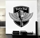 Wall Decal Music Rock Wings MIcrophone Vinyl Sticker (z3588)