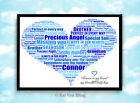 Personalised Heart Memorial/Sympathy/Thinking Of You Word Art Gift-Frame Choice
