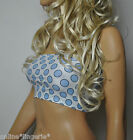 SIZE 12 WHITE BLUE POLKA DOT BOOB TUBE STRAPLESS BANDEAU TOP PARTY HOLIDAY W670