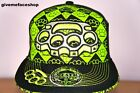 Knuckle Duster Flat Peak Cap Bling Fitted Hat Hip Hop Baseball Black/Lime Caps