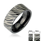 316L Stainless Steel Black IP Ring with Zebra Print Size 5-13