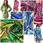 95% pure silk stretch satin charmeuse fabric blue green pinks colors