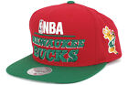 Mitchell & Ness NBA Media Day Wool Milwaukee Bucks NG78Z Red Snapback Cap