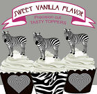 Zebra Black and White Zoo Party EDIBLE Vanilla Cupcake Toppers PRECUT cup cake