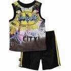Batman Infant Toddler Welcome to My City Short Set Black 12, 18, 24 Months
