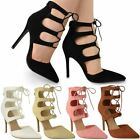 NEW WOMENS LADIES HIGH HEEL LACE UP PARTY WORK OFFICE STILETTO COURT SHOES SIZE