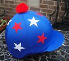 Riding Hat Silk Skull cap Cover ROYAL BLUE WHITE RED * STARS With OR w/o Pompom