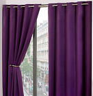 Pair of Plain PURPLE Woven Heavy Thermal Blackout Eyelet Ring Top Curtains