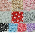 200/40pc satin  ribbon flowers with the Appliques Craft DIY Wedding pearls A046