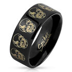 Black IP Stainless Steel Skull Design Etched Ring