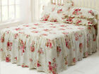 Vintage Style Frilled Quilted Bedspread Set with Pillowshams, Victorian Rose