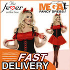 Sexy Red Devil Halloween Ladies Fancy Dress Womens Costume Outfit + Horns 8-22