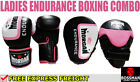 MORGAN ENDURANCE BOXING GLOVES + FOCUS PADS Pink Ladies Training Pack punching