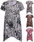 Womens Plus Size Sequin Printed Ladies Short Sleeve Flared Swing Dress Long Top