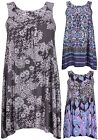 Womens New Plus Size Floral Print Ladies Sleeveless Ruched Long Vest Swing Top