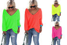 Pullover Pulli tolle NEON Farben Oversize Longpulli weiches Material Bluse NEU