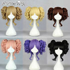 Lolita-2 Short Curly Ponytails W/6 Colors&Straight Bangs Cosplay Wig Hair
