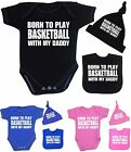 BabyPrem Boys Girls Play BASKETBALL Daddy Bodysuit Vest Hat Bib Set Baby Shower