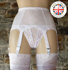 6 Strap Luxury Lace Panel Suspender Belt WHITE (Garter Belt) NYLONZ