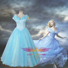 2015 Movies Diseny Cinderella Lily James Blue Formal Dress Cosplay Costumes New
