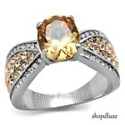 Women's Oval Cut Champagne AAA CZ Stainless Steel Engagement Ring Size 5-10
