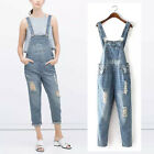 Fashion Women Denim Washed Hole Jumpsuit Overalls Playsuits Rompers Jeans Pants