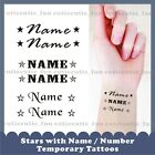 25 x Personalised STARS Name Number Neckback Arms Wrist Hand Temporary Tattoos