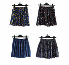 Chiffon Pleated Short Mini Skirt with Under Shorts Pants Leopart Dot Heart Rose