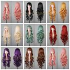 New Fashion Womens Wigs Multi-Color Long Curly Anime Cosplay Party Costume Wig
